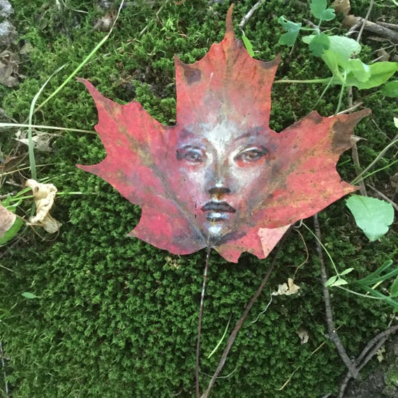 World Within haunting nature art original painting on maple leaf  ethereal autumn decor peaceful fairy