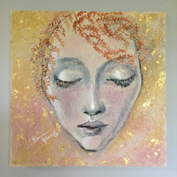 """Serenity Series Large Original painting """"Deep Peace"""" 20 by 20 inches Wall Art Gold Leaf gallery wrapped Painting gold gray"""