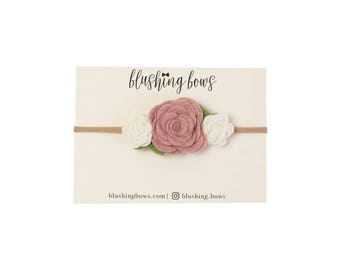 Felt Flower Headband, Felt Flower Crown- Dusty Pink Trio