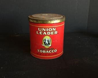 Vintage Union Leader Smoking Tobacco Advertising Tin