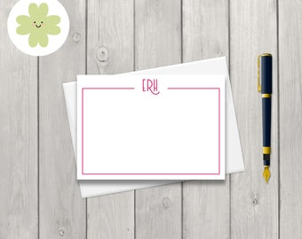 Personalised monogram note card set featuring your initials and a classical design in your choice of colour