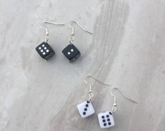 Dice dangle earrings, lucky dice earrings, drop earrings, novelty earrings, gift for her, stocking filler, gift for gamblers, casino earring