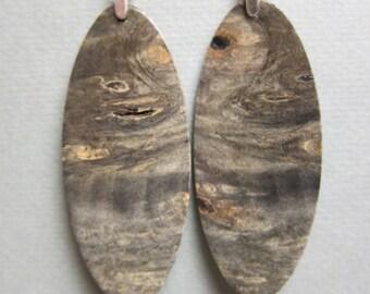 Gray Exotic Wood Earrings Large oval ExoticWoodJewelryAnd handcrafted ecofriendly