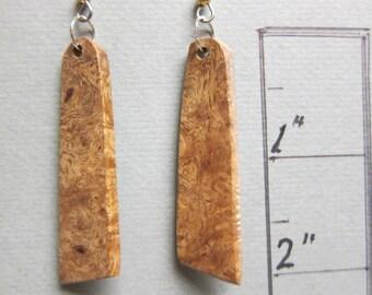 Gmelia Burl, Exotic Wood Dangle Earrings ExoticWoodJewelryAnd handcrafted ecofriendly