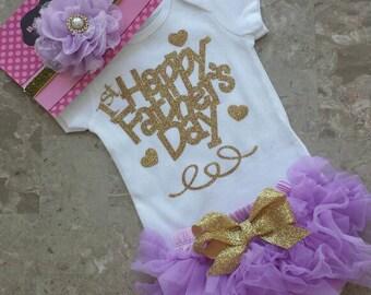 "Ready to ship  Lavender & Gold Glitter Vinyl ""Happy 1st Father's day"" bodysuit,chiffon TutuBloomers, Headband Set, newborn, take home set"