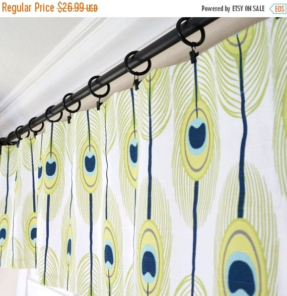 Lime Green Kitchen Blinds: SALE Aqua Valance Curtain.Navy Blue Valance.Lime Green Window