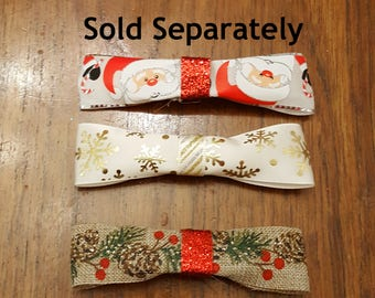 Wide Print Ribbon Holiday Bow Barrettes, Choose one of Santas, Snowflakes, or Pinecone print on French Barrettes or Alligator Clips