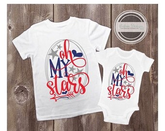 ON SALE Oh My Stars Shirt  | Personalized USA Patriotic American Holidays Top | Independence Day Memorial Day Labor Day Summer
