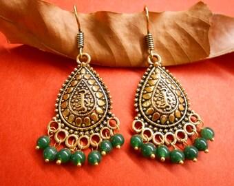 Tibetan Traditional Bollywood Golden Oxidized Green Stone Beads Earring SR090