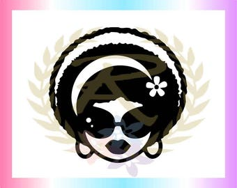 Woman with Shades, Afro, Flower, SVG