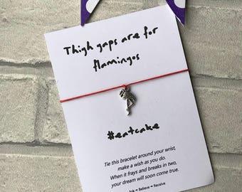 Flamingo Wish bracelet, Flamingo string bracelet, Flamingo charm bracelet, Thigh gaps are for flamingos, #eatcake, pocket money gift
