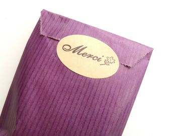 """Merci"" self-adhesive Kraft oval"