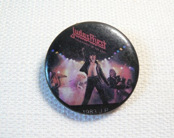 Vintage 80s Judas Priest / Rob Halford Unleashed in the East Album (1979) Pin / Button / Badge (Date Stamped 1983)