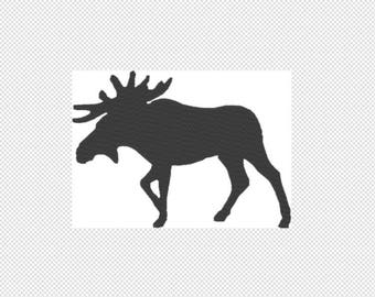 Solid Moose Embroidery Design File - multiple formats - one color design -5 sizes - instant download