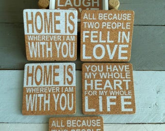 gift cork coasters set with holder drink coasters quote coasters bar