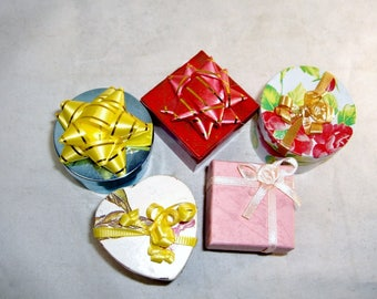 Five Little Jewelry Ring Gift Boxes, Round, Square, Heart