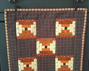 Handmade Primitive Log Cabin Block Table or Wall Quilt