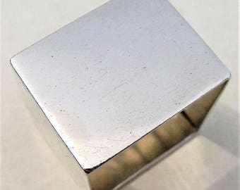 Vintage Solid Sterling Silver Unengraved Square Napkin Ring 1927 Turner Simpson (7254)