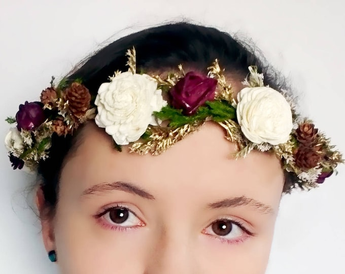 Greenery, burgundy, brown and gold woodland style floral crown