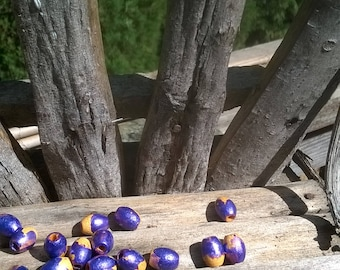 Purple and Mustard Hand Painted Beads