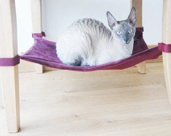 47x35 cm Bordeaux Furry Cat Hammock For Under Chairs
