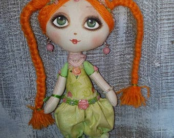 mini fabric doll Rose Thea red hair hand made hand painted collection rag doll made in Italy sweetheart fairy princess fantasy glam