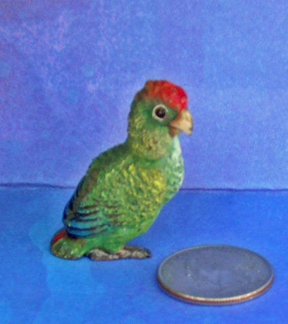 Adorable Antique Red-headed Amazon Parrot miniature collectible cold-painted Austrian Bronze