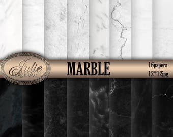 Black and white marble paper Black marble digital paper White marble digital paper Marble background stone