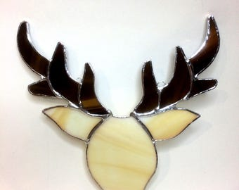 Stained glass stag's head suncatcher