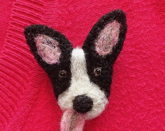 Needle Felted Dog Brooch Pin Dog Jewelry | Needle Felted Brooch | Dog Stocking Stuffer | Dog Face | Dog Lover Gifts | Cute Stocking Filler