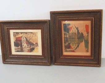Antique etchings, listed artist, Julien Celos (Belgian, 1884-1953)  Original Etching,Canal Scene and House by Waterway. Framed Under Glass.