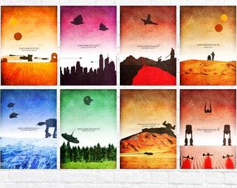 Star Wars Episode I-VIII Minimalist Art Poster Print Set - Last Jedi - Wall Art - Star Wars Poster - Set of all 8 prints