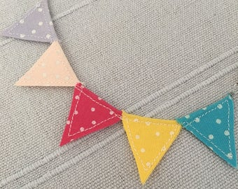 Bunting necklace, rainbow polka dot flags
