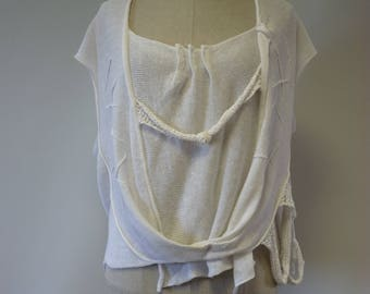 The hot price. Summer asymmetrical white linen blouse, XL size.