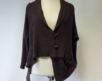 The hot price, asymmetrical chocolate boucle cardigan, L size. Only one sample.