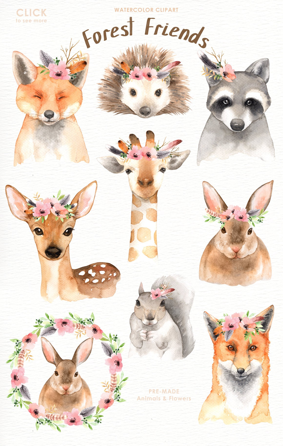 Forest Friends Watercolor Clip Art Woodland Animals Kids
