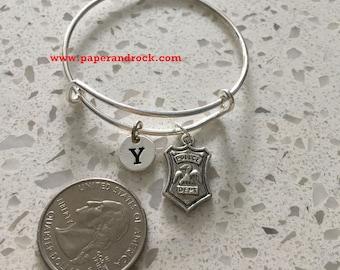 KIDS SIZE - Police badge initial bangle,  police jewelry, police wife jewelry gift, gift for policewoman, police bracelet, law enforcement