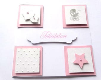 Greeting card - themed small cube pink and white