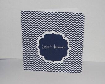 Birthday card blue small chevron Navy