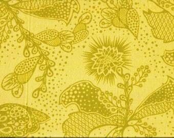 Tissu coton  larges fleurs Folk Art vanille et khaki clair