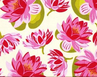 Tissu Patchwork de Mickael Miller - Nénuphars roses stylisés