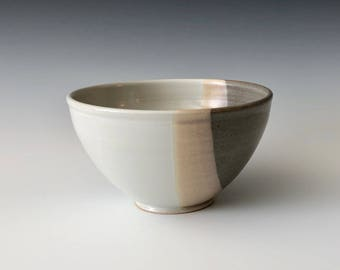Modern handmade pottery serving bowl salad bowl soup bowl wheel thrown gray and white Haight Pottery Company