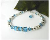 March Aquamarine Crystal Bracelet, Crystal Jewelry, Sterling Silver Jewelry, March Birthstone Jewelry