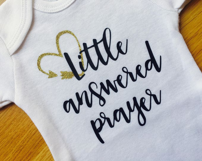 Little Answered Prayer Baby Onesies®, Gold Glitter Arrow, Baby Bodysuit, Coming Home Baby Outfit, Baby Shower Gift, Baby Announcement