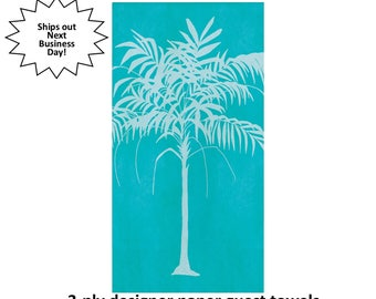 teal palm tree guest towels, designer tropical napkins, island wedding, summer bridal shower, retirement event, anniversary, pool party
