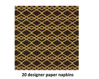 black and gold designer napkins, paper napkins, elegant wedding, retirement party, bridal shower, birthday, New Years Eve decorations