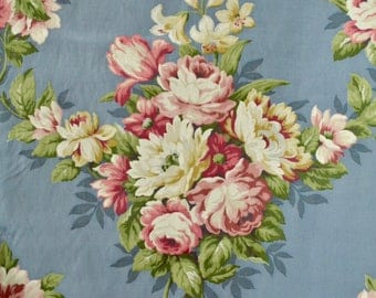 Vintage 40s Blue Faille Curtain Yardage // 1940s Rose Print by Saison Prints // Deadstock Yardage