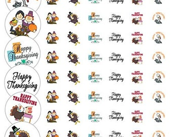 "Assorted Thanksgiving Envelope Seals - 1.2"" Fun Thanksgiving Stickers - 144 Stickers - 25162"