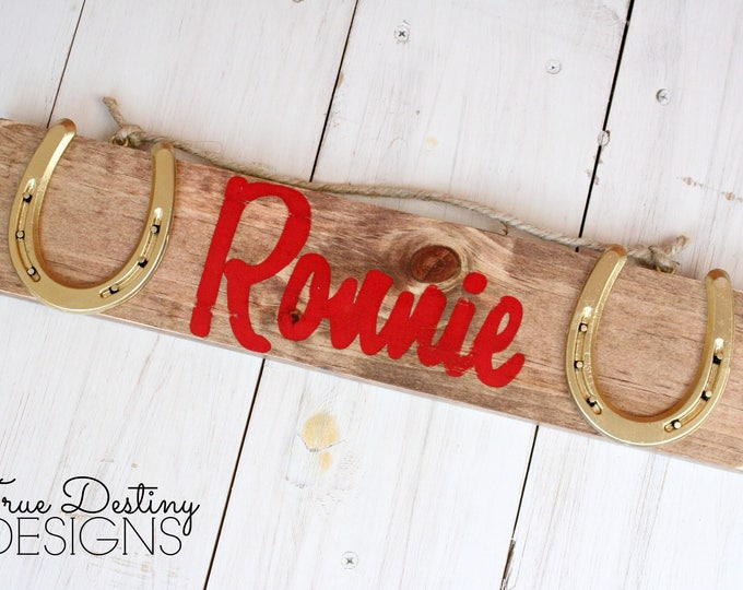 Personal Horse Stall Sign - Fully Custom Name Sign with GOLD Horseshoes - Stable sign, barn sign, rustic, horse, decor, True Destiny, TDD2