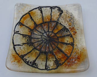 Small square fused glass dish with ammonite style detail